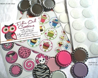 Bottle Cap DIY KIT --  50 Flattenned Bottle Caps (in your choice of 6 colors) plus 50 Epoxy Stickers (Clear or Glitter)