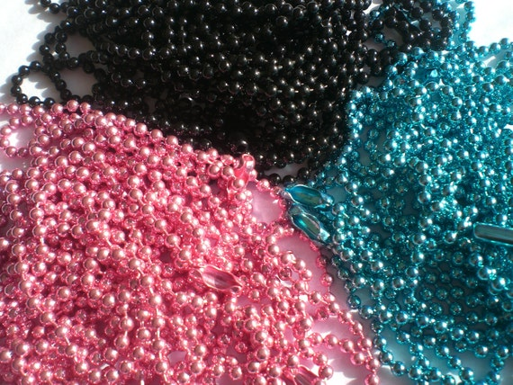 10 COLORED Ball Chain Necklaces (Black, Aqua, Pink, and Silver) - 24 inch, 2.4mm