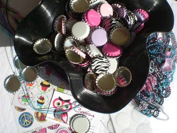 Bottle Cap Craft Kit -  50 Regular/Linerless Caps, in 6 Colors Plus 50 POLYURETHANE Epoxy Stickers, in Clear and/or Glitter