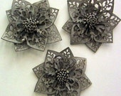 Khaki Punctured Leather Flower Appliques - 3 Pieces