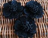 Black Handmade Leather Flower Appliques - 3 Pieces
