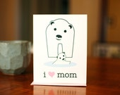 I Heart Mom - Baby and Mama Polar Bear New Baby Card for Mothers