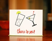 Cheers to You Congratulations or Birthday Card on 100% Recycled Paper