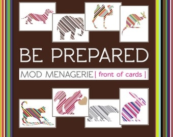 Mod Menagerie - 8 Striped Animal Blank Cards (8 Designs) - 100% Recycled Paper