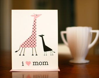 I Heart Mom - Mama & Baby Giraffes New Baby or Mother's Day Card