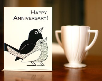 Happy Lovebirds Anniversary Card in Black & White on 100% Recycled Paper