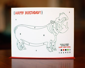 Color By Numbers Hippo Birthday Card on 100% Recycled Paper