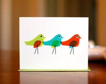 Three Mod Birds - Colorful Blank Card on 100% Recycled Paper