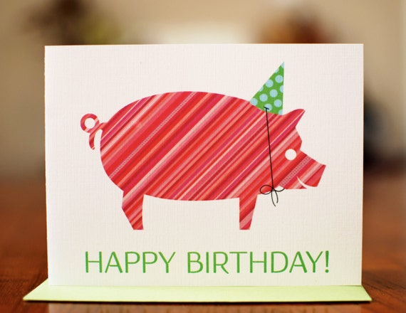 Striped Pig in Party Hat - Colorful Modern Birthday Card on 100% Recycled Paper