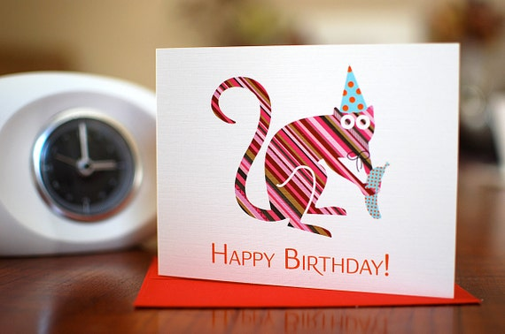 Banana Grabber - Striped Monkey in Party Hat Birthday Card on 100% Recycled Paper