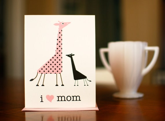 I Heart Mom - Mama & Baby Giraffes New Baby Card