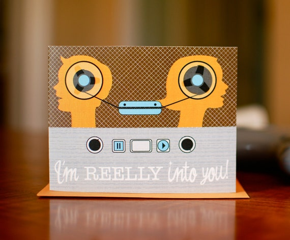 REELLY Into You - Old School Reel to Reel I Love You Card on 100% Recycled Paper