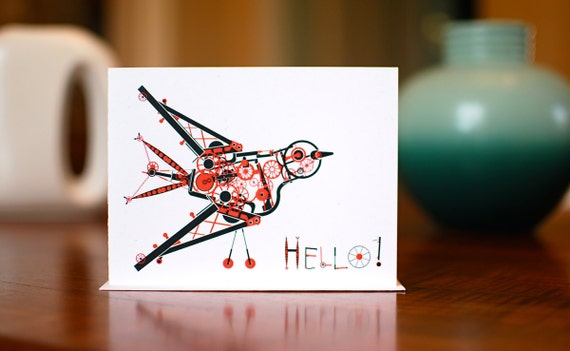 Hello Steampunk Bird - Thinking of You Card on 100% Recycled Paper