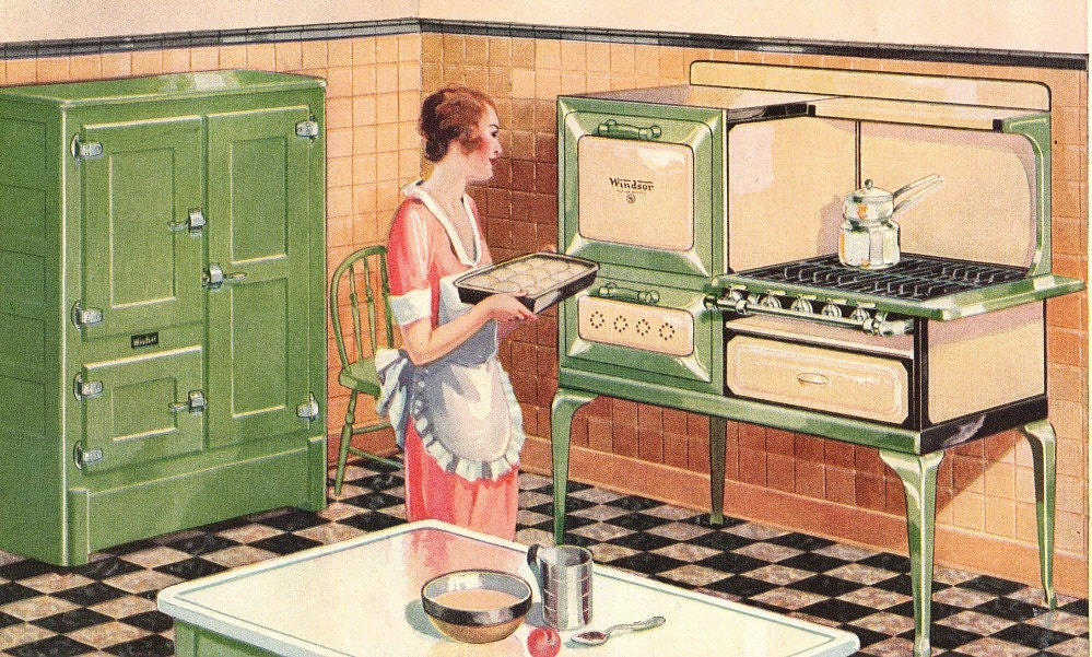 art deco advertising kitchen 1930 stove refrigerator