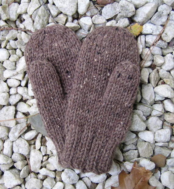 BROWN Knit Wool Mittens - Adult Large Khaki/Brown Double-stranded