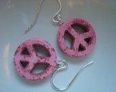 Hot Pink Peace Sign Earrings