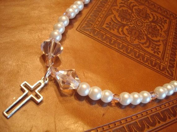 Little Girl Necklace with Crystals, Pearls, and a Cross Charm