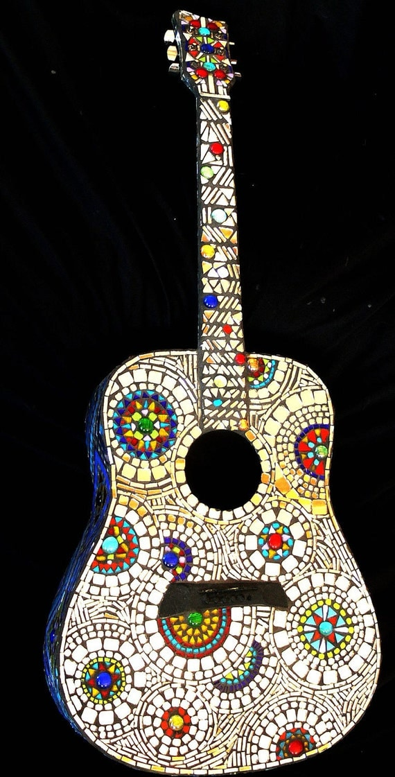 Stained Glass Mosaic Guitar By Dannimacstudios On Etsy
