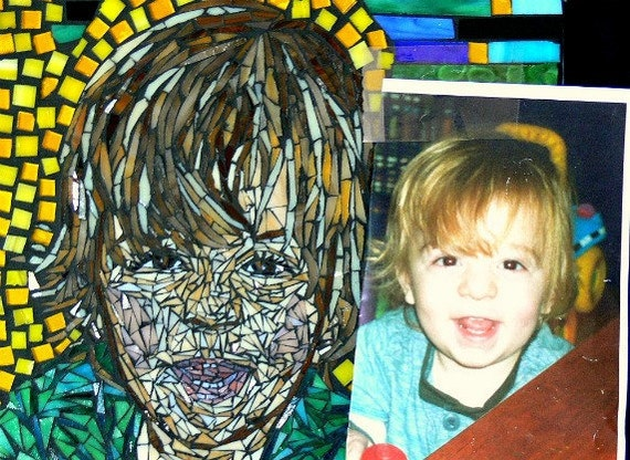 Family Portraits /Custom Stained Glass Mosaic/ sentimental gifts unique gifts