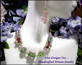 SPECIAL.....Green and Pink Lampwork Bracelet with FREE Matching Earrings