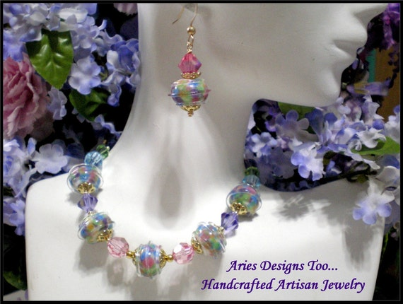 HOLIDAY SPECIAL...Rainbow Sherbet Lampwork Bracelet  Set w/ FREE Matching Earrings
