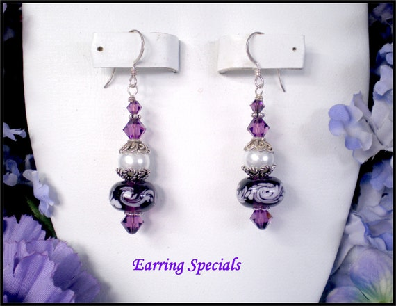 Holiday Special...Beaded Lampwork Earrings