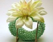 MINT GREEN crochet headband with WHITE water flower