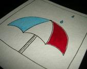 Original Ink & Gouache Illustration - Umbrella with Red White Blue Stripes