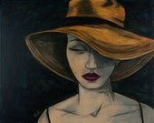 Fine Art Print of Original Acrylic Painting - Woman With Wide Straw Hat - That Summer Night That Wasn't