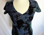 Tie Dye Midnight Blue Teal and Black Womans Size Small