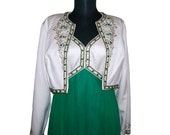 SALE 1960s Vintage Full Length Gown and Bolero Jacket. Mad Men Fashion. Empire Waist. Emerald Silk and White Satin. Size Small to Medium.
