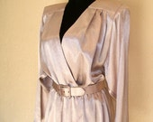 1970s Vintage Liquid Silver Dress with Sequin Belt by Samantha Black