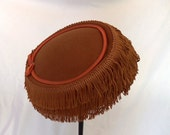 SALE 1960s Brown Felt Flapper Style Hat with Satin Piping and Bow Accent