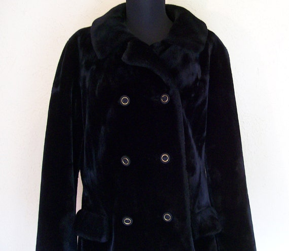 1960s Black Faux Fur Coat by Borgazia Styled by Fairmoor