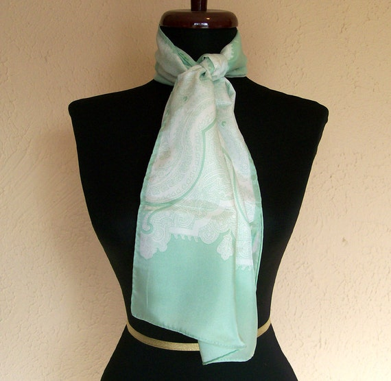 1960s Mint Green and White Paisley Scarf