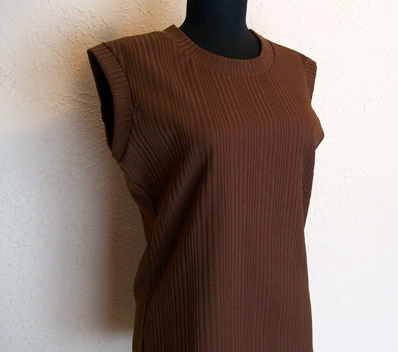 1970s Cinnamon Brown Sleeveless Blouse