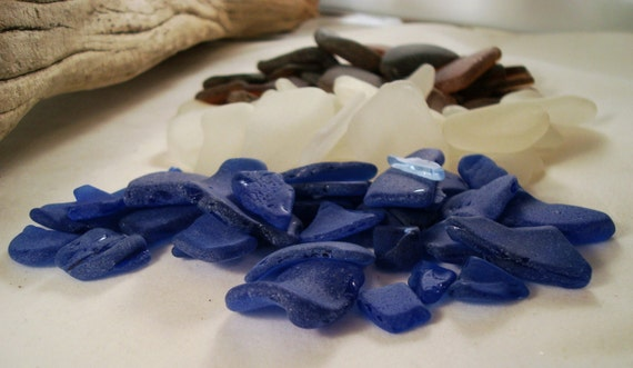 SALE SALE  Bulk Sea Glass 1\/2 pound For Jewelry And Craft From Puerto Rico   Pendant Size Cobalt Blue    Brown (Some Ambar) and White
