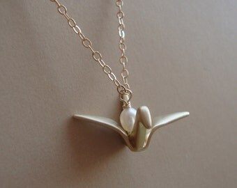Gold Crane Necklace - 14kt Gold Filled Chain and Clasp