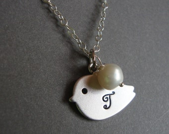 Hand Stamped Bird Necklace Initial of your Choice - STERLING Silver, Bridal, Bridesmaids