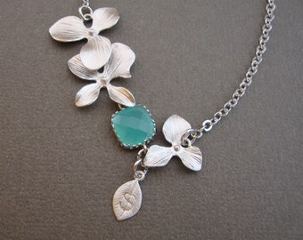 Summer Breeze Necklace, silver orchids hand stamped leaf Personalized, Beach Wedding, bridesmaids gifts, bridal, Customized