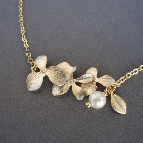 Gold Orchids Necklace - Blooming- Bridal, Bridesmaids Gifts, Wedding, Anniversary, Feminine, Lovely Gift
