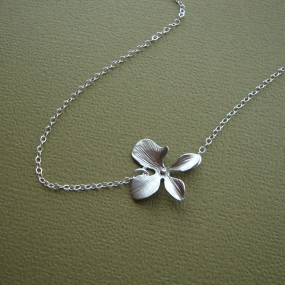 Small Orchid Necklace - 925 sterling silver chain and clasp