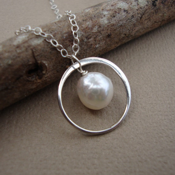 Pearl and Ring Necklace All Solid STERLING SILVER