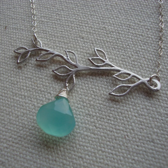 Branch Necklace - Wire Wrapped Chalcedony - Sterling Silver - Sweet Everyday Jewelry - Dangling Pendant, Branch with leaves Necklace
