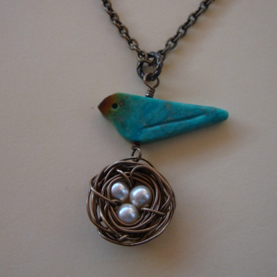 Turquoise Bird and Nest necklace