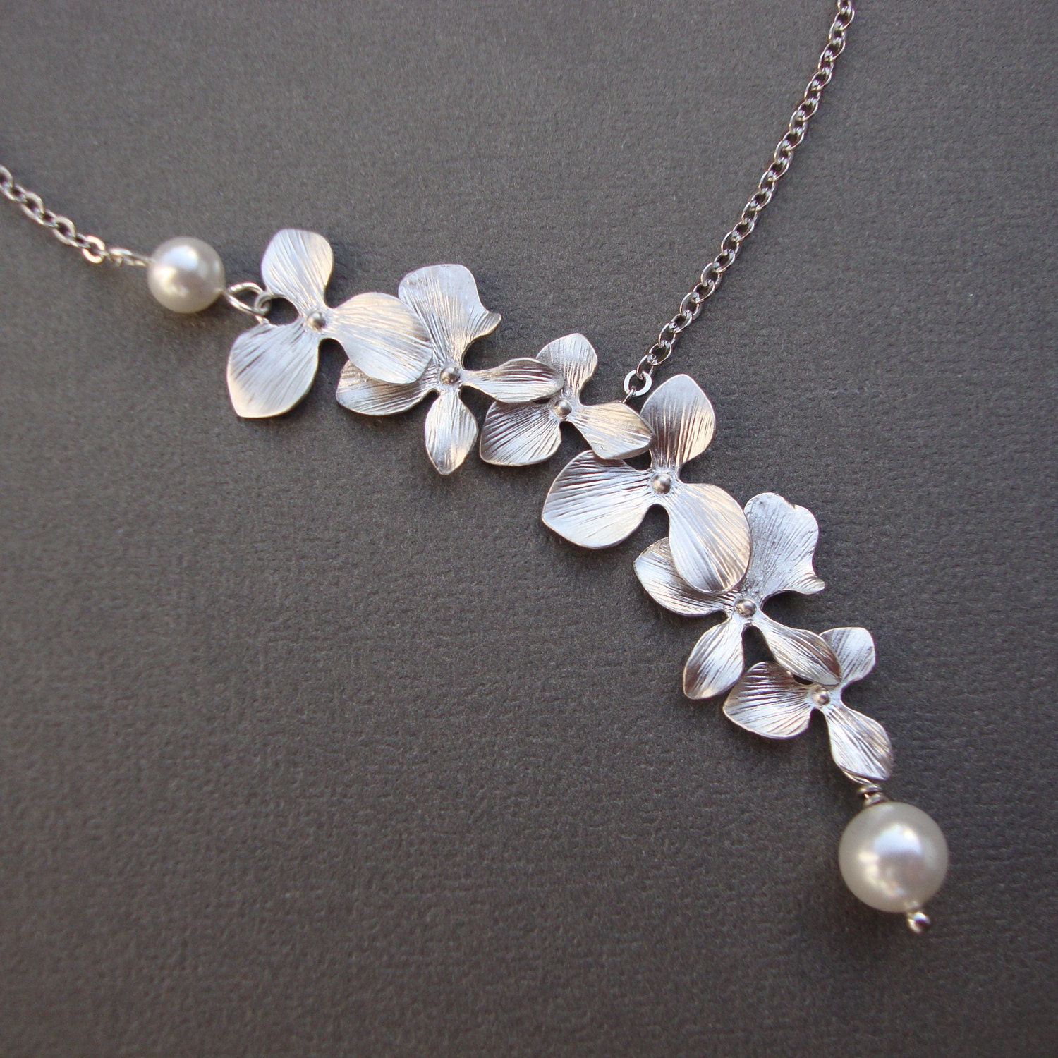 Orchid Flower Necklace bridesmaids bridal wedding jewelry