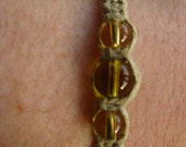 charitable natural Hemp Bracelet\/necklace\/anklet, with glass beads (i9)