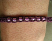 charitable purple Hemp Bracelet\/necklace\/anklet, with purple glass seed beads (e46)