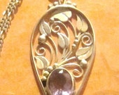 Vintage Sterling Silver and Amethyst Pendant on 30 Inch Figaro Chain