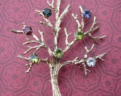 Vintage Sterling Silver and Rhinestone Tree Brooch